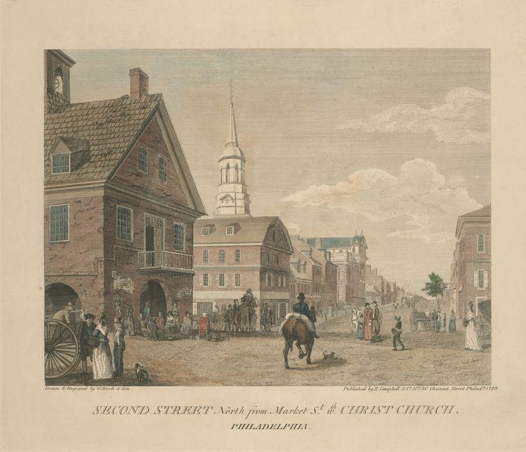 Second Street north from Market St. wth. Christ Church. Philadelphia, Oil by Thomas Birch (1779-1851, United Kingdom)