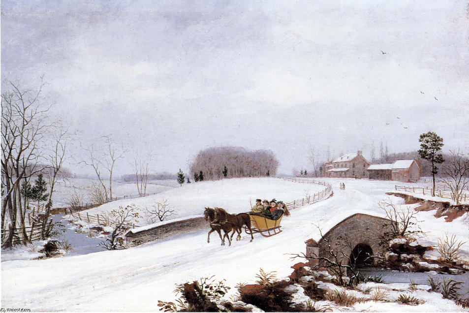 Sleigh Ride on a Gray Day, Oil On Canvas by Thomas Birch (1779-1851, United Kingdom)