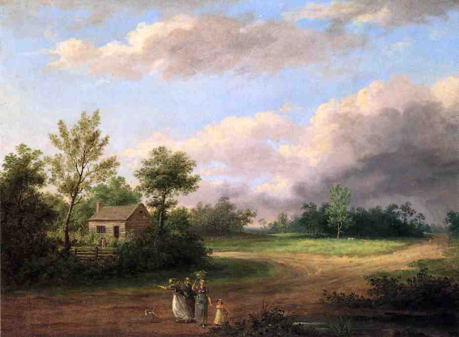 Strolling along a Country Roas, Oil by Thomas Birch (1779-1851, United Kingdom)