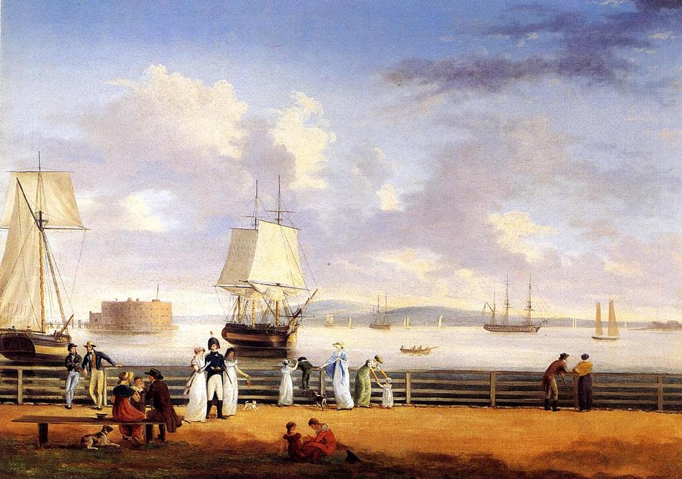 The Battery and Harbor, New York, Oil by Thomas Birch (1779-1851, United Kingdom)