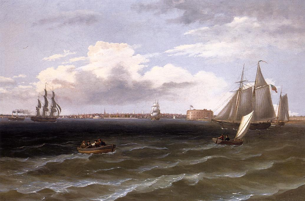 View of New York Harbor, Oil On Canvas by Thomas Birch (1779-1851, United Kingdom)