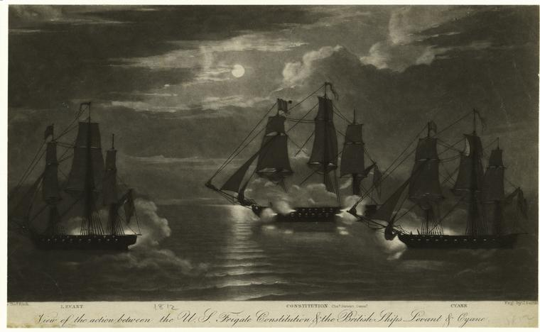 View of the action between the U.S. frigate Constitution & the British ships Levant & Cyane, Watercolour by Thomas Birch (1779-1851, United Kingdom)