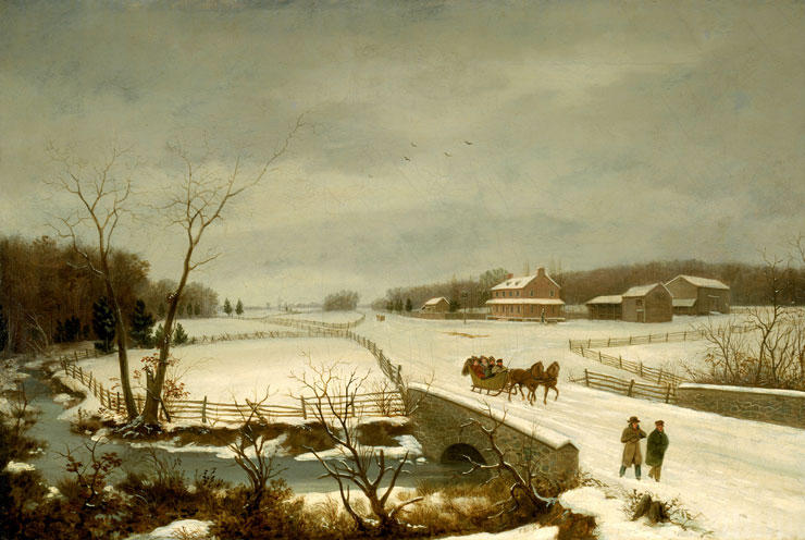 Winter Scene, Oil by Thomas Birch (1779-1851, United Kingdom)