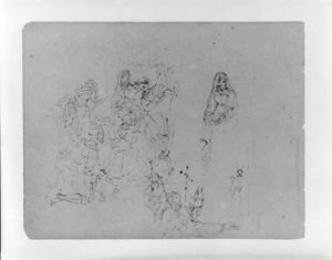 Thomas Sully - Composition Sketch for an Adoration of the Magi and A Bishop Blessing