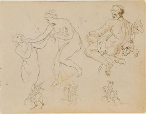 Thomas Sully - Two Female Nudes; Seated Male Nude; Three Equestrian Figures