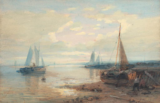 A Coastal Landscape With Moored Sailing Barges by Abraham Hulk Senior (1813-1897, Netherlands) | Oil Painting | ArtsDot.com