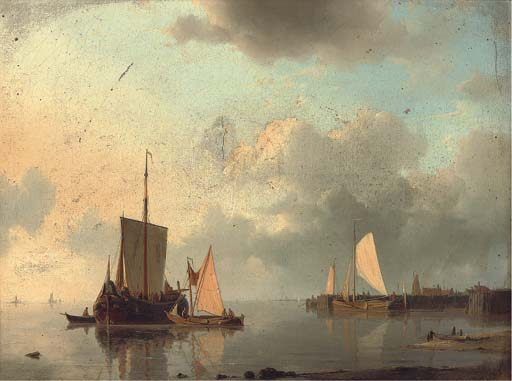 Barges On The Estuary In The Evening Light by Abraham Hulk Senior (1813-1897, Netherlands) | Oil Painting | ArtsDot.com