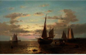 Abraham Hulk Senior - Fisherman And Their Boats At Evening, Other Boats Offshore