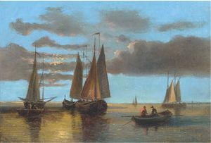Abraham Hulk Senior - Fishing Boats On The Scheldt (Illustrated); And Barges In A Stiff Breeze