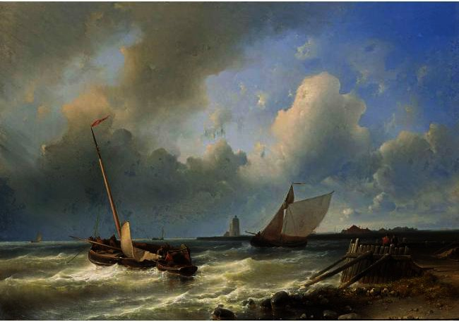 Hipping Off The Dutch Coast by Abraham Hulk Senior (1813-1897, Netherlands) | Art Reproduction | ArtsDot.com