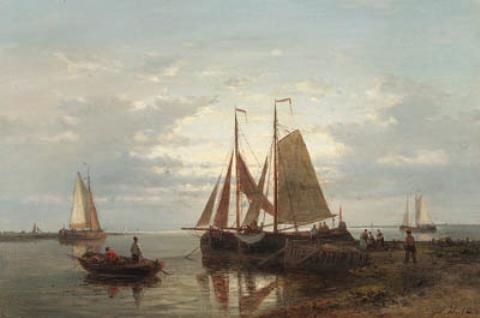 Moored Fishing Boats In A Calm With Fishing-Folk On A Jetty by Abraham Hulk Senior (1813-1897, Netherlands) | Museum Art Reproductions | ArtsDot.com
