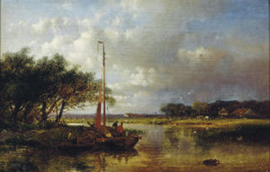 Abraham Hulk Senior - River Landscape With A Sailing Boat