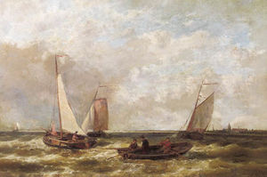 Abraham Hulk Senior - Sailing Boats On A River Estuary