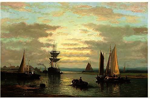 Sailing Vessels In A River by Abraham Hulk Senior (1813-1897, Netherlands) | Reproductions Abraham Hulk Senior | ArtsDot.com