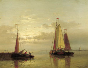Abraham Hulk Senior - Sailing Vessels Near A Jetty At Dusk