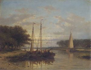 Abraham Hulk Senior - Sailing Vessels On A Calm River At Dusk
