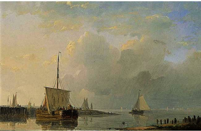 Order Oil Painting : Shipping In A Calm 3 by Abraham Hulk Senior (1813-1897, Netherlands) | ArtsDot.com