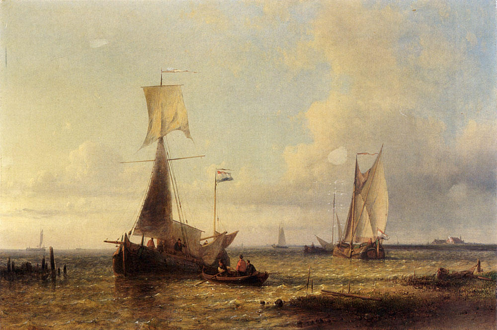 Shipping In A Calm by Abraham Hulk Senior (1813-1897, Netherlands) | Oil Painting | ArtsDot.com