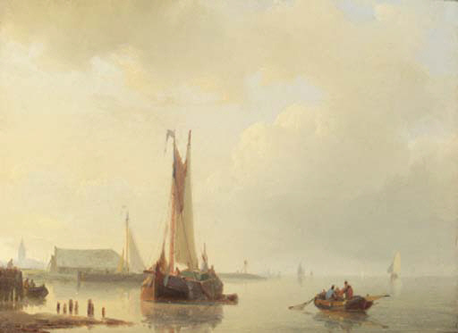 Shipping In Calm Waters by Abraham Hulk Senior (1813-1897, Netherlands) | Painting Copy | ArtsDot.com