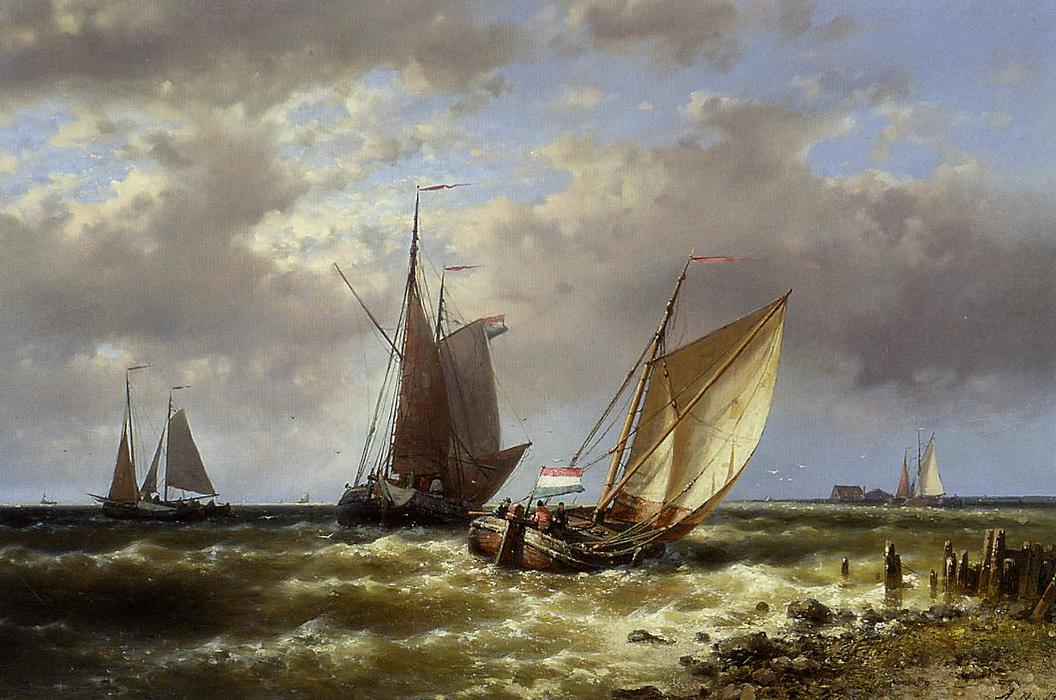 Shipping In Choppy Waters by Abraham Hulk Senior (1813-1897, Netherlands) | Oil Painting | ArtsDot.com