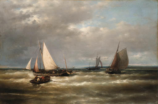 Shipping On Story Seas by Abraham Hulk Senior (1813-1897, Netherlands) | Museum Art Reproductions | ArtsDot.com