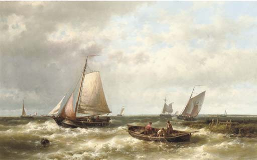 Ships On A Choppy Sea By An Estuary by Abraham Hulk Senior (1813-1897, Netherlands) | Museum Quality Reproductions | ArtsDot.com