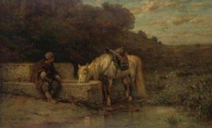 Adolf Schreyer - A Rest By The Fountain