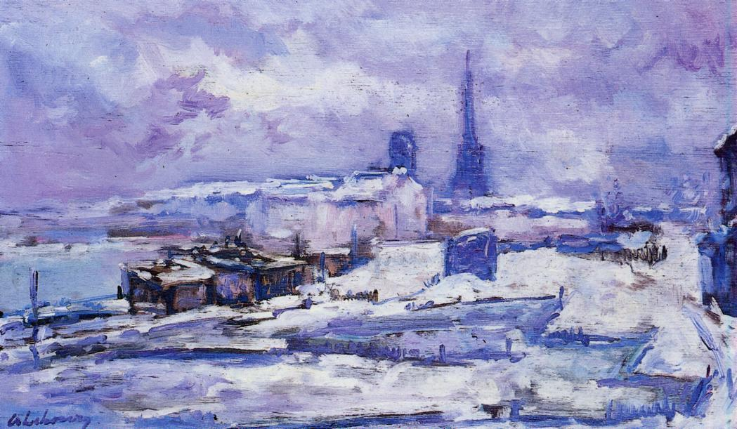 Rouen, Snow Effect by Albert-Charles Lebourg (Albert-Marie Lebourg) (1849-1928, France) | Reproductions Albert-Charles Lebourg (Albert-Marie Lebourg) | ArtsDot.com