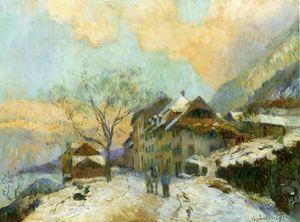 Albert-Charles Lebourg (Albert-Marie Lebourg) - The Banks of Lake Geneva at Saint-Gingolph, in winter, with Snowy Weather