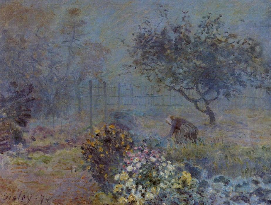 Foggy Morning, Voisins, 1874 by Alfred Sisley (1839-1899, France) | Reproductions Alfred Sisley | ArtsDot.com