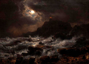 Andreas Achenbach - Norwegian Coast by Moonlight