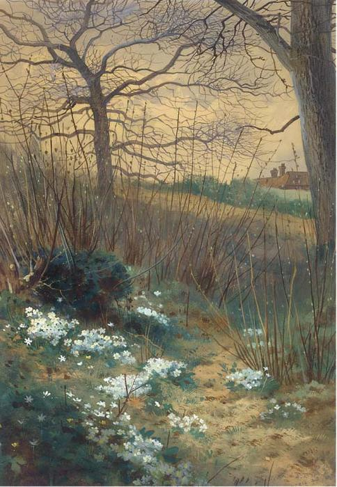 An Early Spring Morning, Watercolour by Archibald Thorburn (1860-1935, United Kingdom)