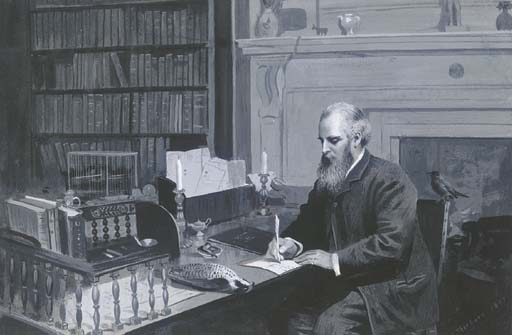 Lord Lilford In His Study, Watercolour by Archibald Thorburn (1860-1935, United Kingdom)