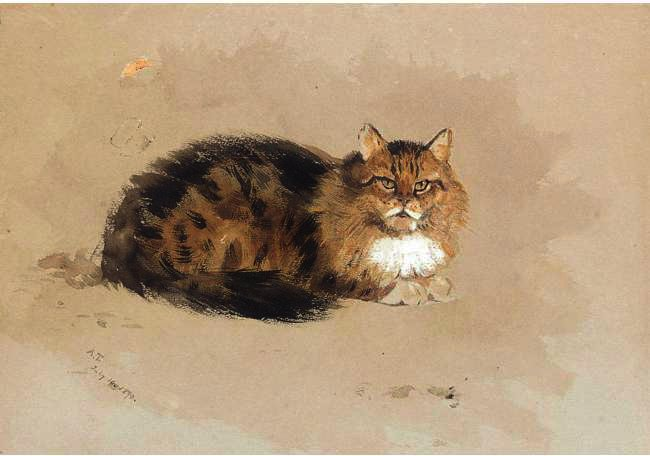 Study Of A Cat, Watercolour by Archibald Thorburn (1860-1935, United Kingdom)