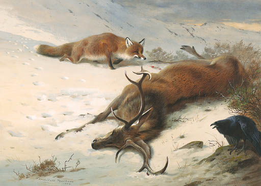 The Fox, The Raven And The Dead Stag, Watercolour by Archibald Thorburn (1860-1935, United Kingdom)