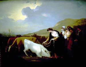 Benjamin West - Europe Crowning Bull with Flowers