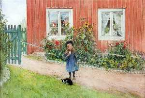 Carl Larsson - Brita With A Cat And A Sa..