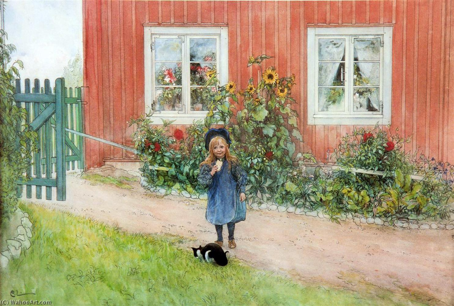 Order Art Reproductions | Brita With A Cat And A Sandwich by Carl Larsson (1919-1919, Sweden) | ArtsDot.com
