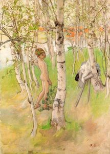 Carl Larsson - Ulf Goes Swimming