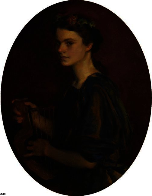 GIRL WITH LYRE (PORTRAIT OF DOROTHEA GILDER), Oil by Cecilia Beaux (1855-1942, United States)