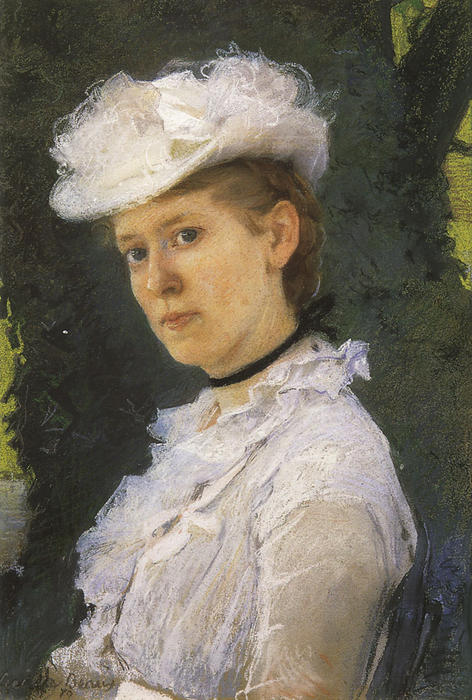 Lady George Darwin, Oil by Cecilia Beaux (1855-1942, United States)