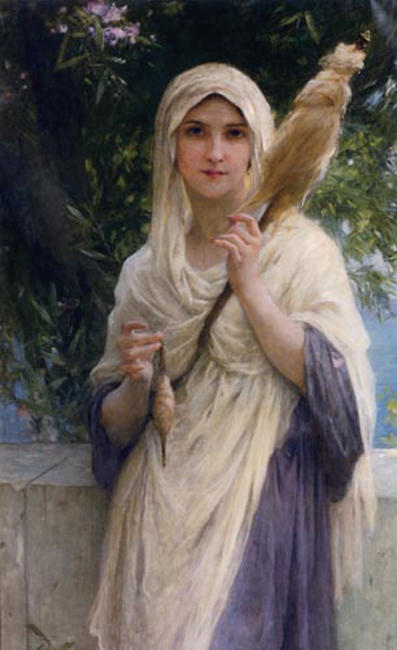 The Spinner by the Sea by Charles Amable Lenoir (1860-1926, France) | Museum Art Reproductions | ArtsDot.com