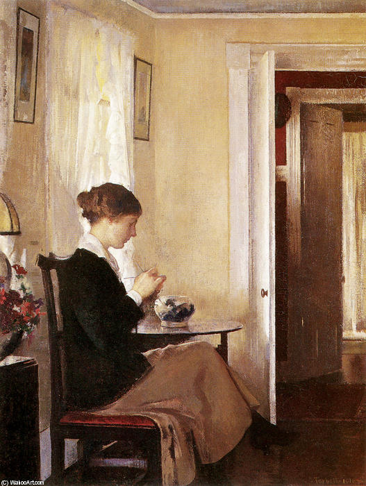 Josephine Knitting, 1916 by Edmund Charles Tarbell (1862-1938, United States) | Art Reproduction | ArtsDot.com