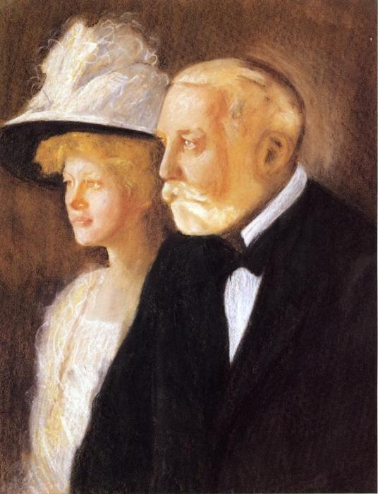 Study for Portrait of Henry Clay Frick and His Daughter, Helen, Oil by Edmund Charles Tarbell (1862-1938, United States)