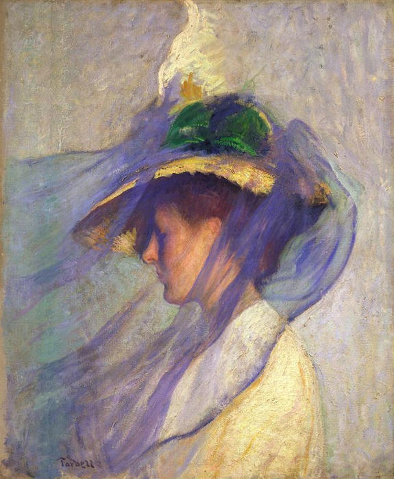 The Blue Veil, Oil by Edmund Charles Tarbell (1862-1938, United States)