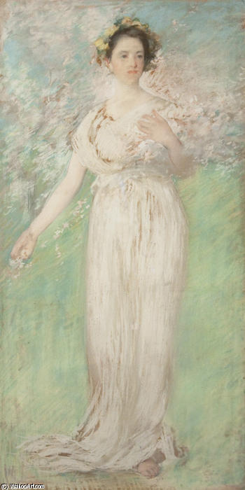 The Symbol of Spring, Pastel by Edmund Charles Tarbell (1862-1938, United States)