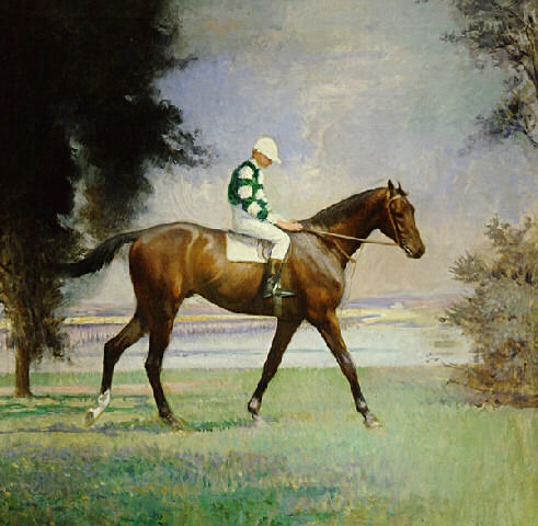 Thoroughbred with Jockey up, Oil On Canvas by Edmund Charles Tarbell (1862-1938, United States)
