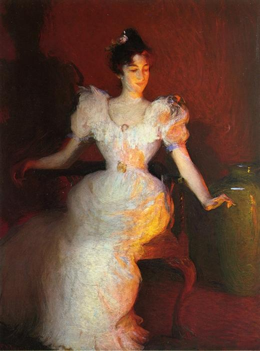Firelight, Oil by Frank Weston Benson (1862-1951, United States)