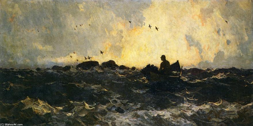 Hunter in Boat by Frank Weston Benson (1862-1951, United States) | Museum Art Reproductions | ArtsDot.com