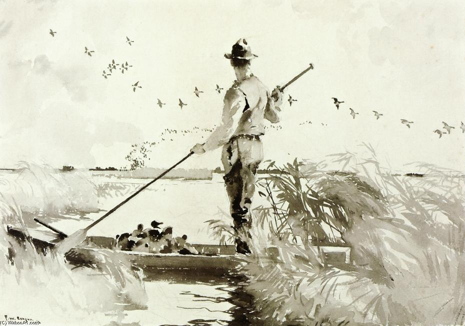 In the Marsh (aka Duck Hunting), Watercolour by Frank Weston Benson (1862-1951, United States)